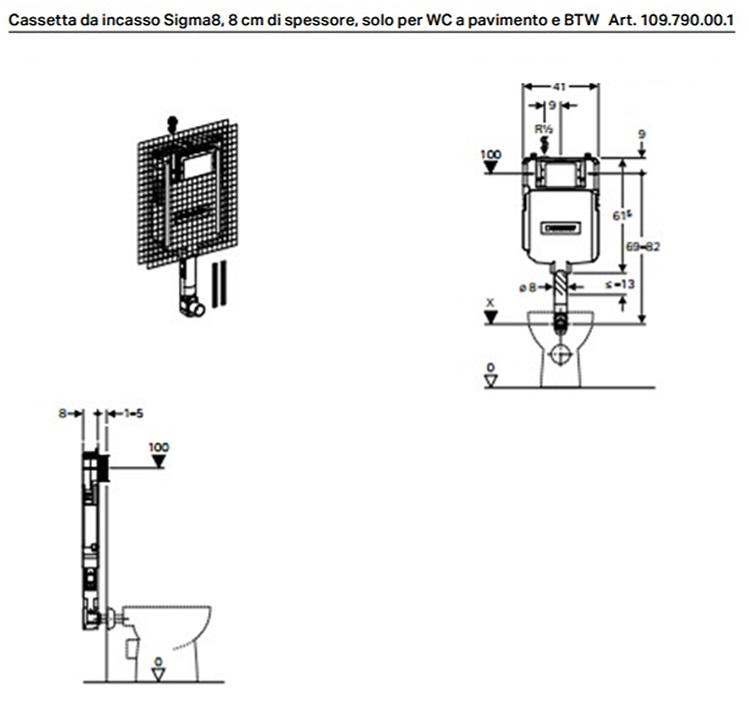 Cassetta da incasso geberit sigma8 for Cassetta geberit esterna prezzo