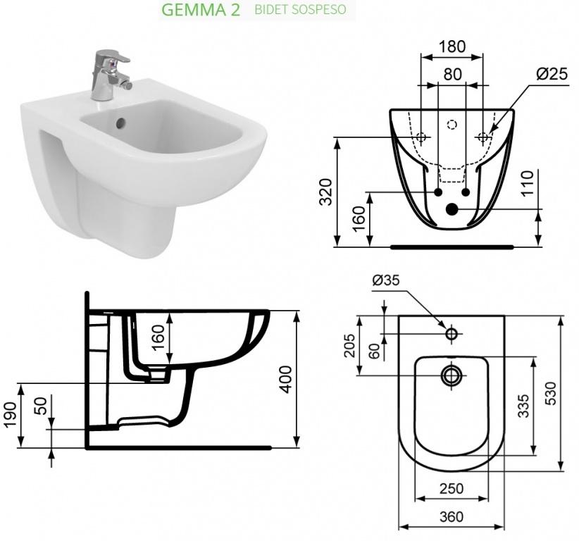 Promozione Serie Gemma 2 Ideal Standard Sospeso + rubinetteria ...