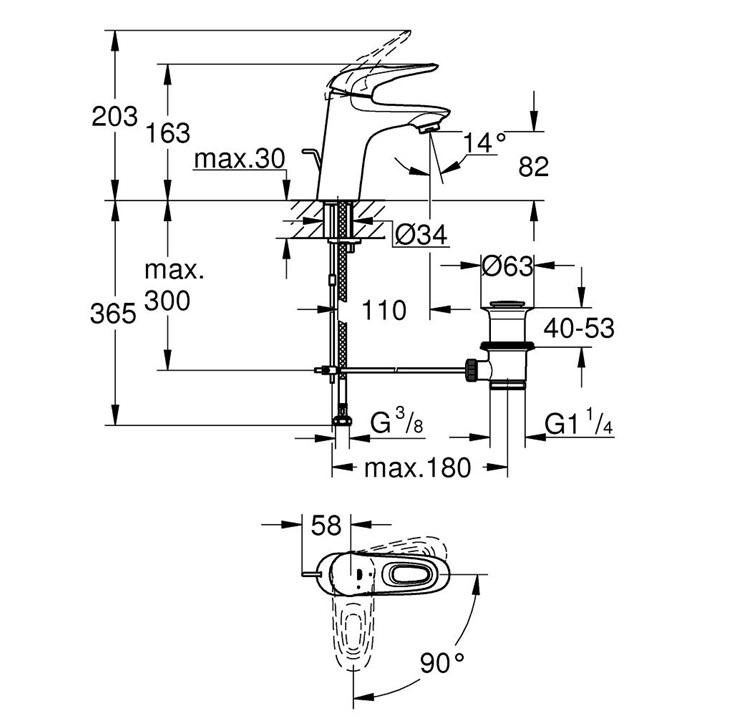 Miscelatore monocomando per lavabo taglia s leva aperta for Copriwater obi