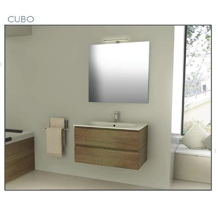 Mobile Bagno sospeso cm 80 completo di specchio con lampada Iotti ...