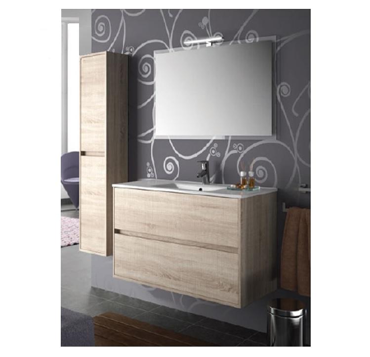 Mobile Bagno sospeso cm 100 completo di specchio con lampada serie ...