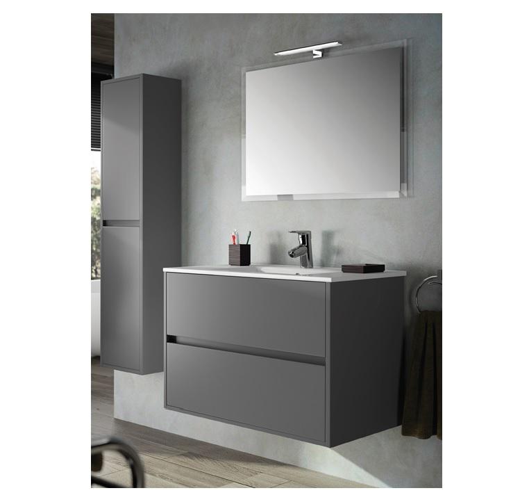 Mobile bagno sospeso cm 100 completo di specchio con lampada serie noja 1000 grigio opaco art - Mobile bagno 100 cm ...