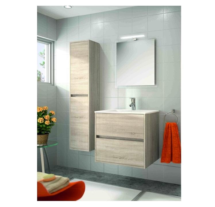 Mobile bagno sospeso cm 60 completo di specchio con lampada serie noja 600 caledonia - Lampada bagno specchio ...