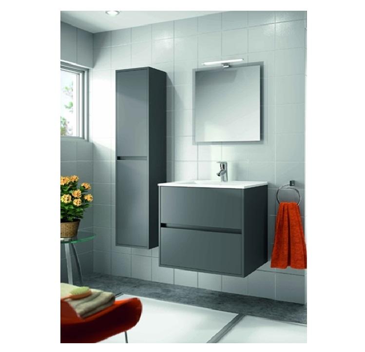 Mobile bagno sospeso cm 60 completo di specchio con lampada serie noja 600 grigio opaco art - Mobile bagno profondita 40 ...