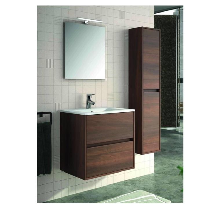 Mobile bagno sospeso cm 70 completo di specchio con lampada serie noja 700 acacia marrone art - Mobile bagno 70 cm ...
