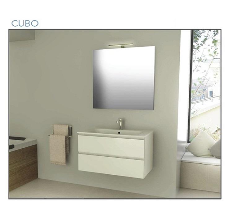 Mobile bagno sospeso cm 80 completo di specchio con lampada iotti serie cubo art pcrcb1 bianco - Mobile bagno sospeso 80 cm ...