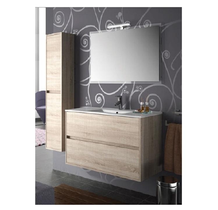 Mobile bagno sospeso cm 80 completo di specchio con lampada serie noja 800 caledonia - Mobile bagno sospeso 80 cm ...