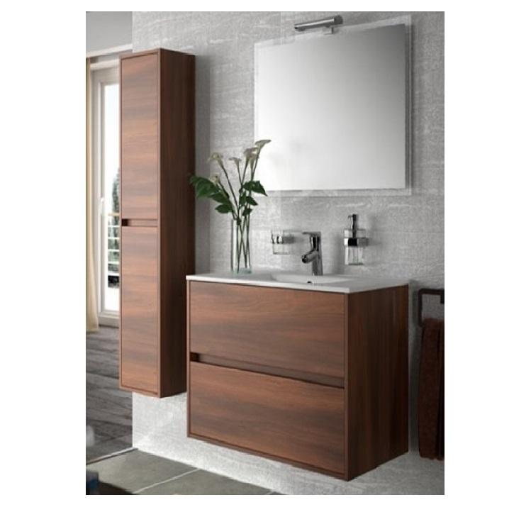 Mobile bagno sospeso cm 80 completo di specchio con lampada serie noja 800 acacia marrone art - Mobile bagno sospeso 80 cm ...
