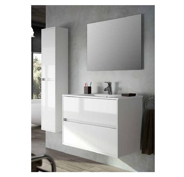 Mobile bagno sospeso cm 80 completo di specchio con lampada serie noja 800 bianco lucido art - Mobile bagno sospeso 80 cm ...