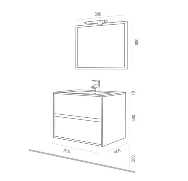 Mobile bagno sospeso cm 80 completo di specchio con for Misure mobili bagno