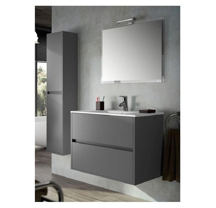 Mobile bagno sospeso cm 80 completo di specchio con lampada serie noja 800 grigio opaco art - Mobile bagno sospeso 80 cm ...