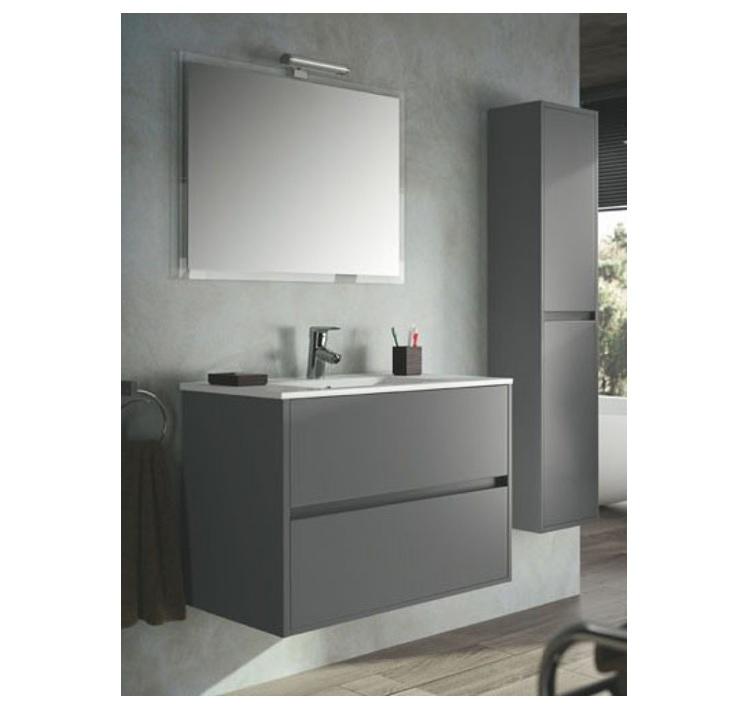 mobile bagno sospeso cm 90 completo di specchio con lampada serie
