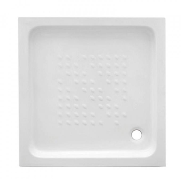 Piatto doccia 85x70 cm in ceramica bianca con for Piatto doccia antiscivolo
