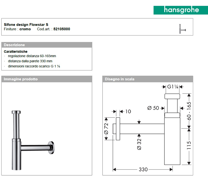 Sifone design Flowstar S Hansgrohe art.52105000