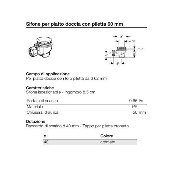 Sifone Doccia Ribassato Diametro 60 Mm Geberit Art 150 689 21 1 Idrocommerce Vendita Online
