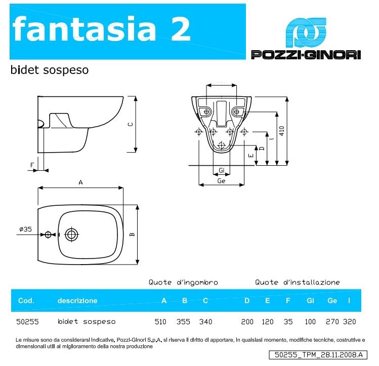Pozzi Ginori Fantasia 2 Bidet Sospeso
